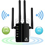 Aigital AC1200 WLAN Repeater Wi-Fi Verstaerker Range Extender Booster Dualband(5GHz,867Mbps+2.4GHz...